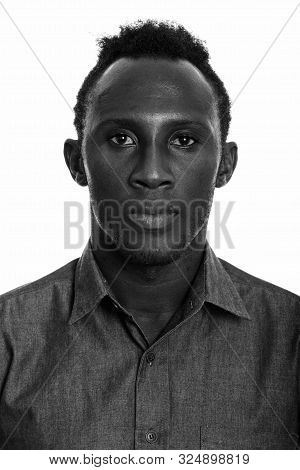 Studio Shot Of Young African Man In Black And White