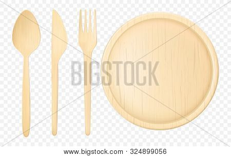 Disposable Wooden, Ecological Tableware Set With Spoon, Fork Dinner Knife And Flat Plate, Platter. N
