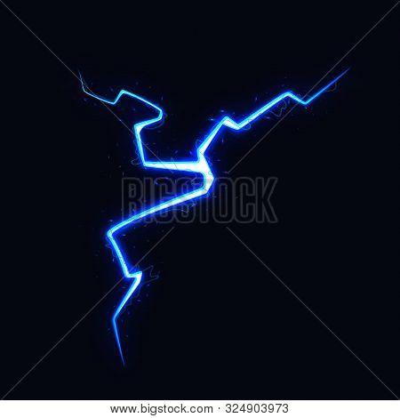 Vector Illustration Of Lightning On Black Background. Blitz Lightning Thunder Light Sparks Storm Fla