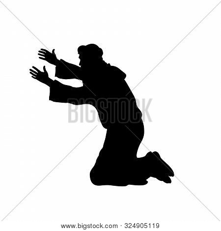 Silhouette Man On His Knees Praying. Vector Illustration