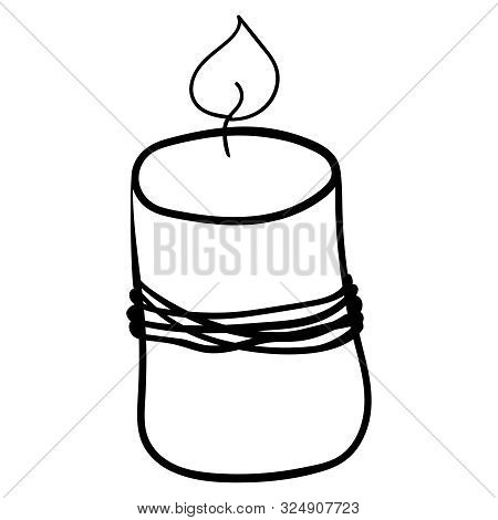 Paraffin Candle. Coloring Page Adult And Kids. Accessory For Comfort. Season Is Winter Or Fall. Warm