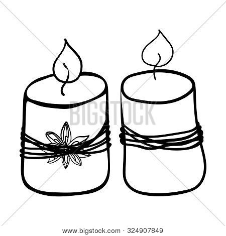 Two Paraffin Candles. Coloring Page Adult And Kids. Accessory For Comfort. Season Is Winter Or Fall.