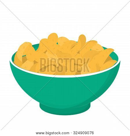 Potato Chips In A Bowl. Crisp Snack, Delicious Meal Full Of Fat.