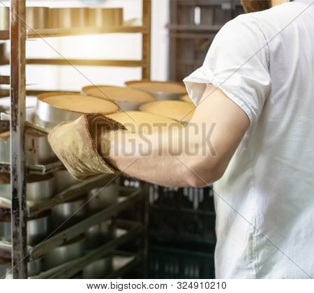 Baking Bread At The Factory. Production Of Food Bread Products At The Factory