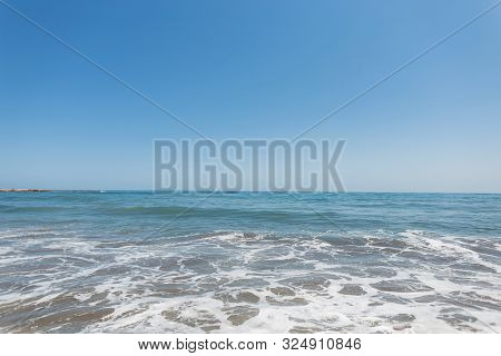 Calm Sea With Waves At Sunny Day. Ocean Horizon. Beautiful Seascape.