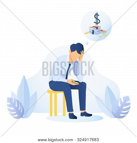 Money Shortage And Financial Problem Concept. Depressed Man Thinking About Money. Economic Crisis, B