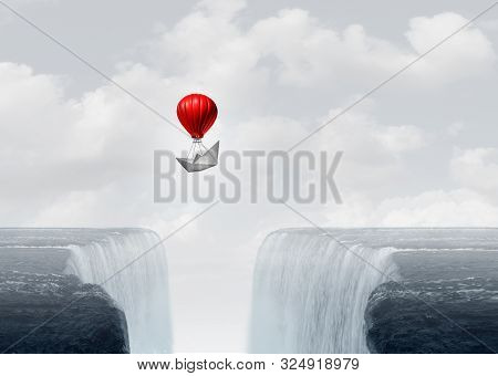 Surreal Concept And Creative Solution Metaphor As A Business Strategy To Overcome An Obstacle With 3