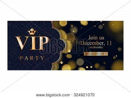 Vip Party Premium Invitation Card Poster Flyer. Black And Golden Design Template. Glow Bokeh And Dot