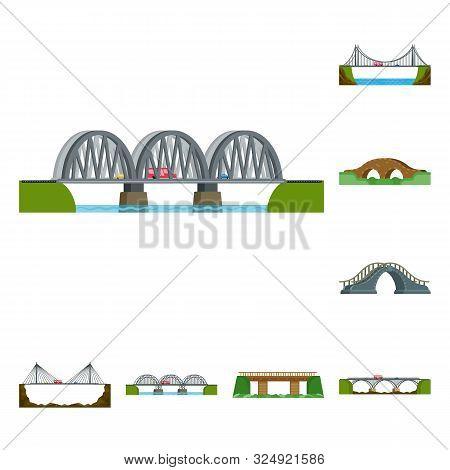 Vector Illustration Of Bridgework And Bridge Icon. Set Of Bridgework And Landmark Vector Icon For St
