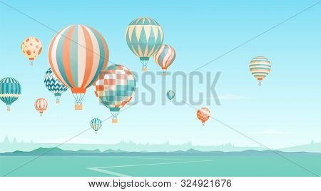 Flying Hot Air Balloons In Sky Vector Illustration. Floating Aircrafts On Horizon Scenery. Aerial Tr