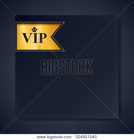 poster of VIP club party premium invitation card poster flyer. Black and golden design template with copy space. Golden ribbon with VIP and crown stamp label decorative vector background.