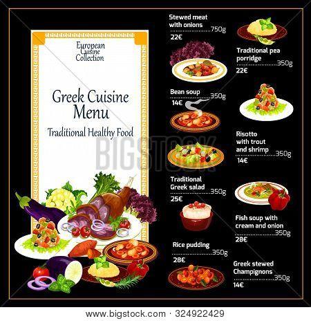 Greek Cuisine Restaurant Menu, Traditional Greece Mediterranean Food Dishes. Vector Stewed Eat With