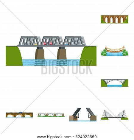 Isolated Object Of Bridgework And Bridge Symbol. Set Of Bridgework And Landmark Stock Vector Illustr