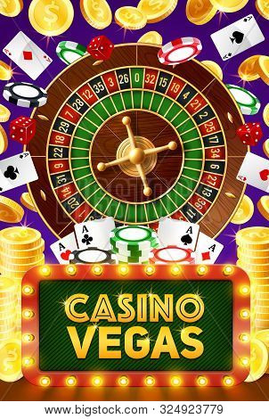 Vegas Casino Poker Gambling Game, Roulette, Jackpot Big Win And Playing Cards. Vector Poker Cards, W