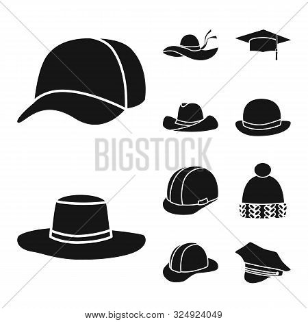 Vector Design Of Beanie And Beret Logo. Set Of Beanie And Napper Stock Symbol For Web.