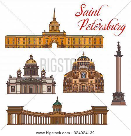 Saint Petersburg Architecture, Vector Landmark Buildings, Famous Sightseeing. Saint Isaac And Kazan