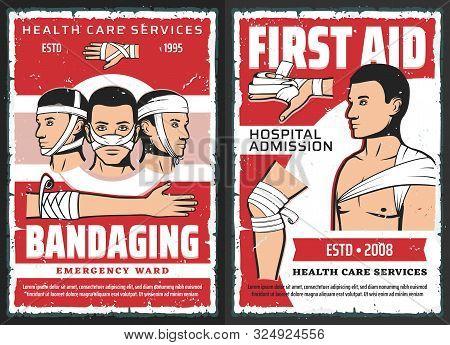Traumatology First Aid, Medical Assistance Center And Hospital Admission, Vector. Orthopedics Ambula
