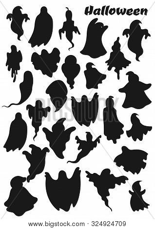 Halloween Ghosts, Treat Or Treat Party Spooky Monsters. Vector Silhouette Icons Of Halloween Holiday