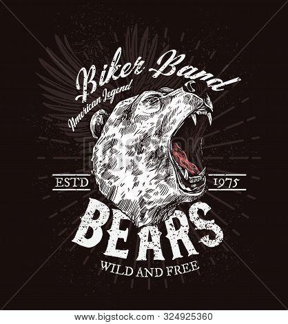 Biker Club T-shirt Print Patch Template, Roaring Bear Sketch. Vector American Biker Club Badge, Wild