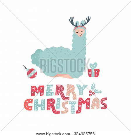 Cute Cartoon Alpaca With Overhead Antlers For Christmas Holiday. Hand Drawn Llama Character Doodle C