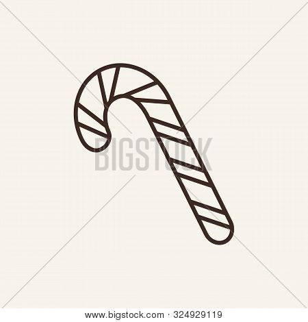 Candy Cane Line Icon. Winter, New Year, Holiday. Christmas Concept. Vector Illustration Can Be Used