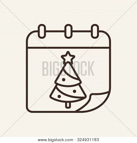 Calendar With Christmas Tree Line Icon. Winter, New Year, Holiday. Christmas Concept. Vector Illustr