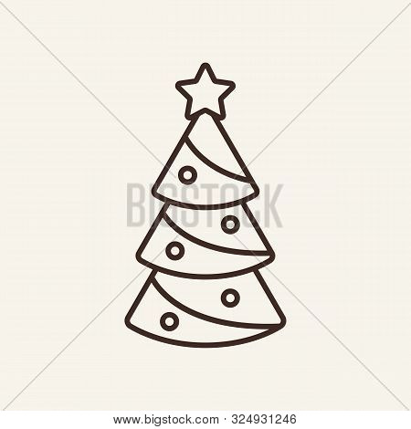 Christmas Tree Line Icon. Winter, New Year, Holiday. Christmas Concept. Vector Illustration Can Be U