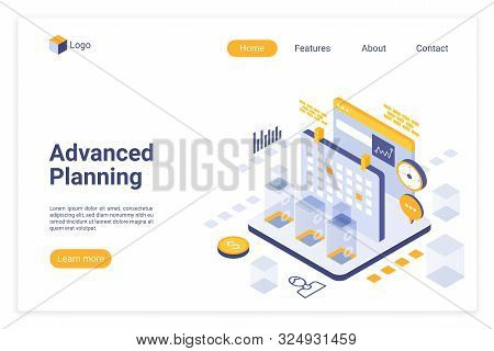 Advanced Planning Isometric Landing Page Vector Template. Time Management Website Design Layout. Aut
