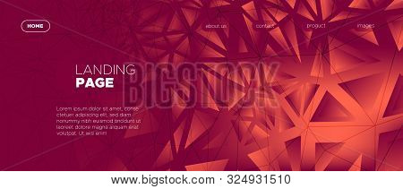 Triangular Geometry. Abstract Geometric Poster. Red Web Page Design. Coral Gradient Texture. Dark Tr
