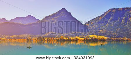 Beautiful Autumn Scene Of Wolfgangsee Lake. Colorful Morning View Of Austrian Alps, Europe Mountains
