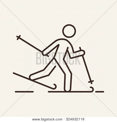 Skiing Man Line Icon. Winter, Skis, Sport. Winter Sport Concept. Vector Illustration Can Be Used For