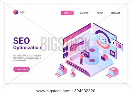 Seo Isometric Landing Page Vector Template. Search Engine Marketing Webpage Layout. Website Traffic
