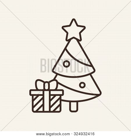 Present Under Christmas Tree Line Icon. Winter, New Year, Holiday. Christmas Concept. Vector Illustr