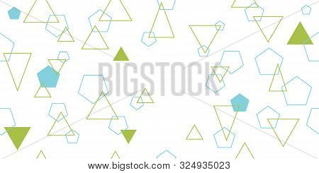 Seamless Pattern From Various Poligons. Triangles And Pentagons. Vector Illustration. Isolated Eleme