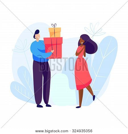 Man Giving Presents To Woman. Holiday, Generosity, Joy. Giving Concept. Vector Illustration Can Be U