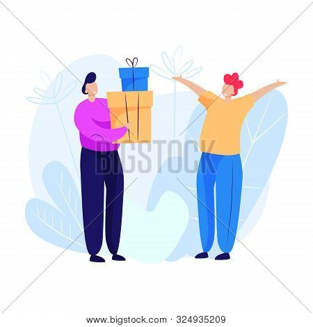 Man Giving Presents To Man. Holiday, Generosity, Joy. Giving Concept. Vector Illustration Can Be Use