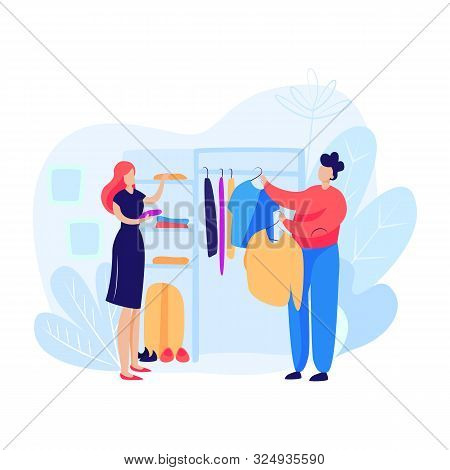 Woman And Man Choosing Clothes. Salesman, Store, Clothes. Shopping Concept. Vector Illustration Can