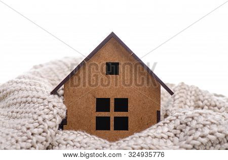 House Model Warm Heat On White Background, Heating System Concept