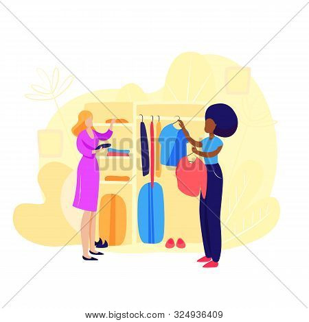 Women Choosing Clothes. Salesman, Store, Clothes. Shopping Concept. Vector Illustration Can Be Used