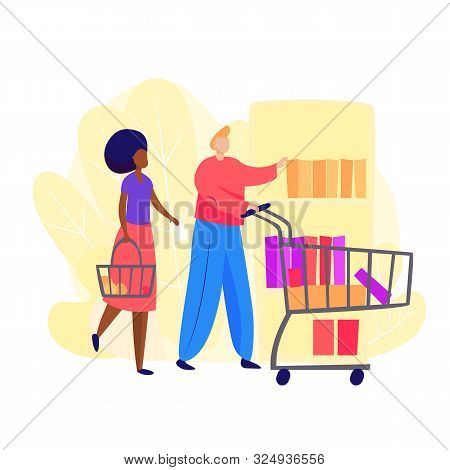 Couple Going Food Shopping. Shopping, Supermarket, Couple. Shopping Concept. Vector Illustration Can