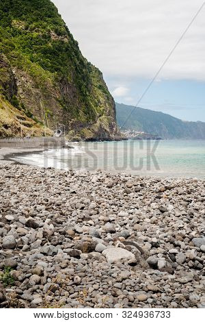 Green Beach Of Sao Vicente In Madeira
