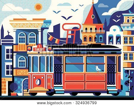 Istanbul Red Tram Scene With Galata Tower