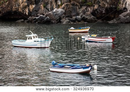 Small Boats In The Harbor Of Camara De Lobos In Madeira