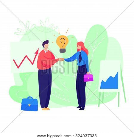 Businessman And Businesswoman Agreeing On Bargain. Cooperation, Dealing, Idea. Business Concept. Vec