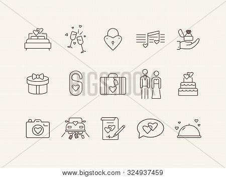 Marriage Ceremony Line Icons. Set Of Line Icons. Wedding Cake, Suitcase, Balloons. Wedding Concept.