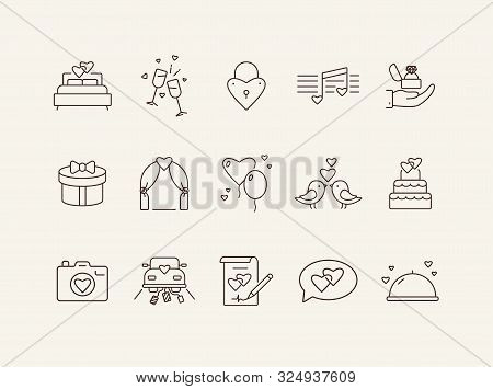Marriage Day Line Icons. Set Of Line Icons. Birds, Just Married Car, Bed. Wedding Concept. Vector Il