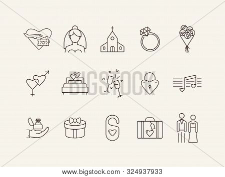 Wedding Day Icons. Set Of Line Icons. Glasses, Wedding Ring, Bed. Wedding Concept. Vector Illustrati