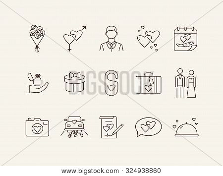 Wedding Company Line Icons. Wedding Arch, Just Married, Proposal. Wedding Concept. Vector Illustrati