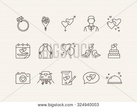 Marriage Ceremony Day Line Icons. Set Of Line Icons. Bride Bouquet, Calendar, Church. Wedding Concep