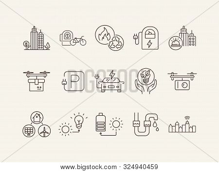 Modern Energy Types Icons. Set Of Line Icons. Electrical Car Park, Quadcopter With Camera, Bike Rent
